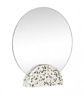 Miroir à poser rond - socle terrazzo blanc & noir - Hubsch