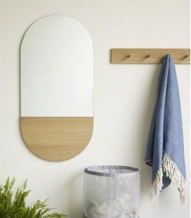 Grand miroir mural -  avec chêne - 50x100 - Hubsch