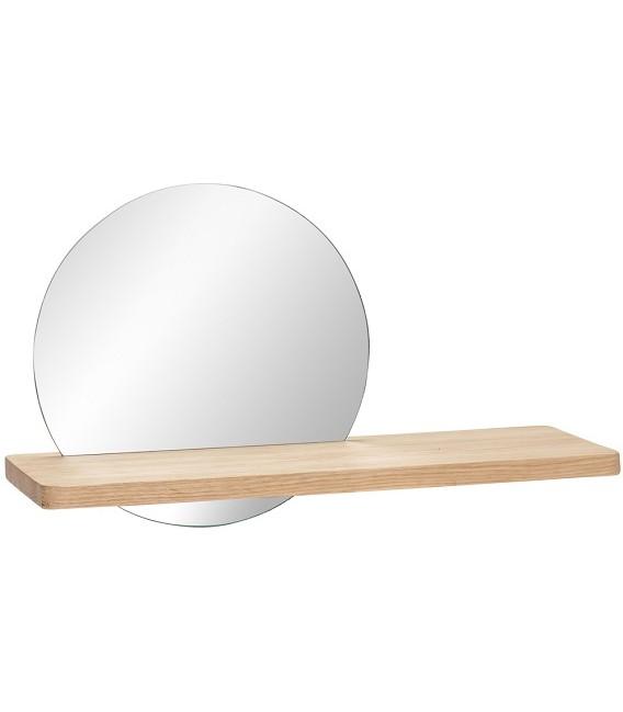 Miroir rond sur étagère en chêne - Hubsch