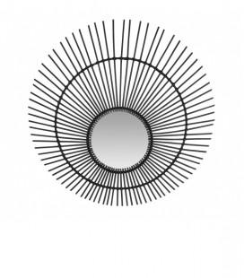 Miroir XL en rotin noir – forme Soleil – 120 cm - Versmissen