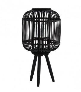 Lanterne Bambou Noir avec pieds bois - 30x59 - Madam Stoltz