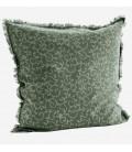 Coussin 60x60 - Vert lavé & Gris -Coton - Madam Stoltz