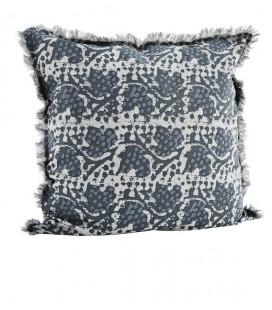 Coussin 60x60 - Imprimé Bleu foncé, bleu clair & gris - Coton - Madam Stoltz