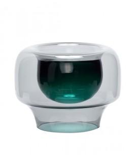 Vase verre fumé et intérieur vert - 20x16 - Hubsch