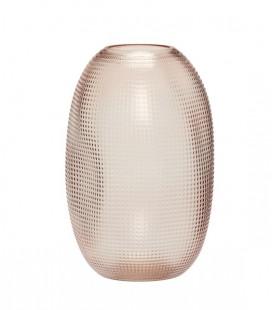Vase rose à reliefs - verre - Hubsch