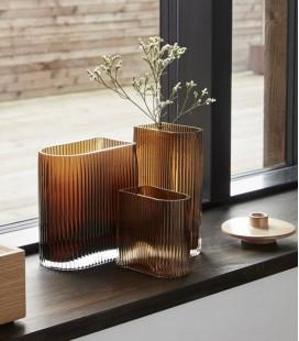 Set de 3 vases en verre strié Ambre - Hubsch