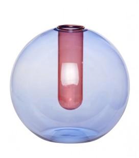 Vase boule soliflore - Verre Bleu & Rose - D : 17 cm - Hubsch