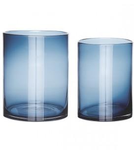 Set de 2 vases en verre - Bleu - Hubsch